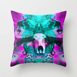 Psychedelic skull (purple and blue) Throw Pillow