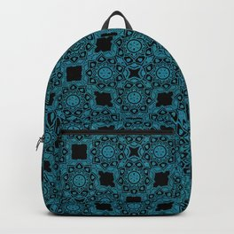 Turquoise and Black Flower Doodle with Digital Glitter Effect -Graphic Design Pattern Backpack
