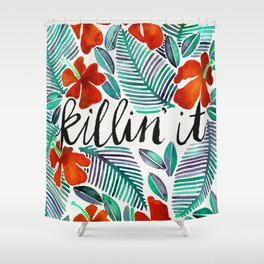 Killin' It – Tropical Red & Green Shower Curtain