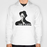 tom waits Hoodies featuring Tom Waits Painting by All Surfaces Design