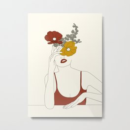 Colorful Thoughts Minimal Line Art Woman with Flowers II Metal Print