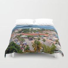Colorful island and city scenes of Sint Maarten - St. Martin Duvet Cover