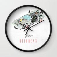 delorean Wall Clocks featuring The Delorean by Josh Ln