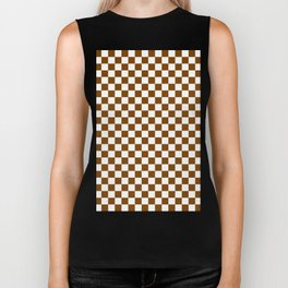 White and Chocolate Brown Checkerboard Biker Tank