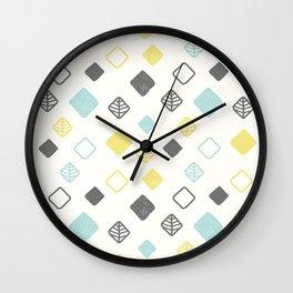 Aqua gray yellow abstract geometrical diamond pattern Wall Clock