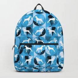 RETRO BLUE AND WHITE WEIMARANER CIRCLES Backpack
