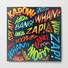 Comic Book Typographic Pattern Pop Art Metal Print