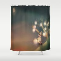 lanterns Shower Curtains featuring Lanterns by Claire Westwood illustration