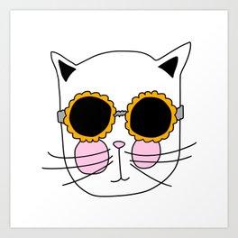 Cat Sunflower Glasses Art Print