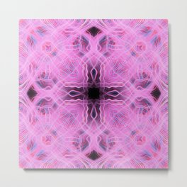 Pink light trails cross pattern Metal Print