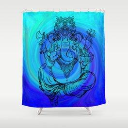 Lord Ganesha on Blue Spiral Shower Curtain