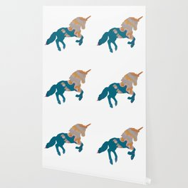 Blue and Gold Unicorn Wallpaper