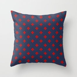 Red Swiss Cross Pattern on Navy Blue background Throw Pillow