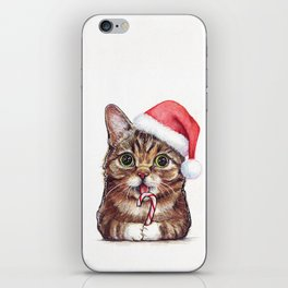Christmas Cat in Santa Hat Whimsical Holiday Animals iPhone Skin
