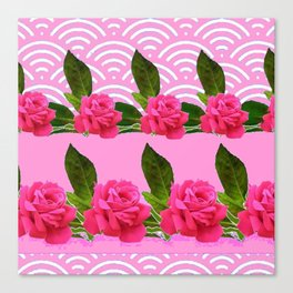 CERISE PINK GARDEN ROSES PATTERN ABSTRACT ART Canvas Print