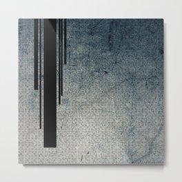 Geometric Grunge Blue - Gray Vertical Black Stripes Polka Dots Illustration Metal Print
