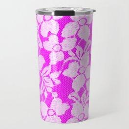 White Lace on Pink Travel Mug