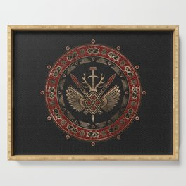 Gungnir - Spear of Odin Black and Red Leather and gold Serving Tray