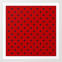 Navy Blue Stars Pattern on Red Background Art Print