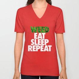 Weed Eat Sleep Repeat Unisex V-Neck