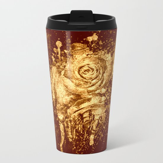 golden  rose explosion Metal Travel Mug