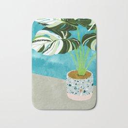 Variegated Monstera #tropical #painting #nature Bath Mat