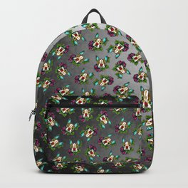 Boston Terrier in Red - Day of the Dead Sugar Skull Dog Backpack