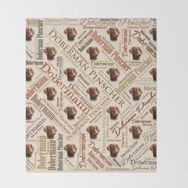Dobermann Word Art Throw Blanket