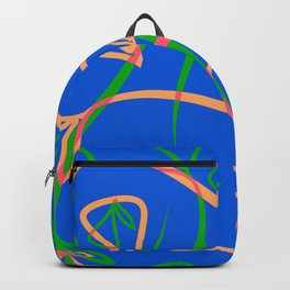 Geometric pastel pattern from vegetative peach and mint elements on a blue background. Backpack
