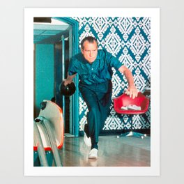 President Richard Nixon Bowling At The White House - Color Version Art Print