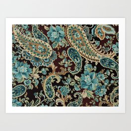 Brown Turquoise Paisley Art Print