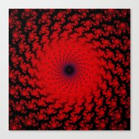 Red Space Spiral Fractal  Canvas Print