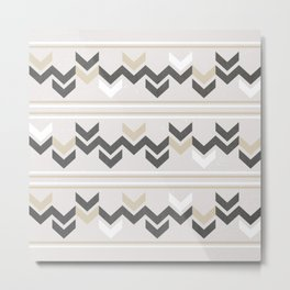Geometric Arrowhead Charcoal Gold And White Grunge Pattern Metal Print