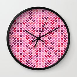 Cozy Valentine's pink hearts knit pattern Wall Clock