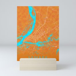 Samara, Russia, Gold, Blue, City, Map Mini Art Print