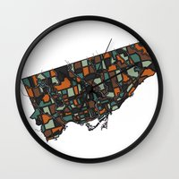 toronto Wall Clocks featuring Toronto by BigRedSharks