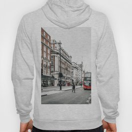 Red bus in Piccadilly street in London Hoody