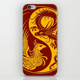 Yellow and Red Dragon Phoenix Yin Yang iPhone Skin