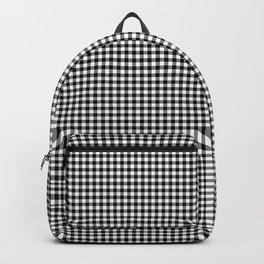 Black White Gingham Check Backpack