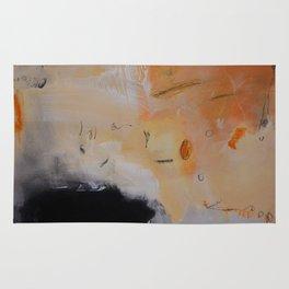 Rust black abstract art Rug