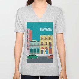 Havana, Cuba - Skyline Illustration by Loose Petals Unisex V-Neck