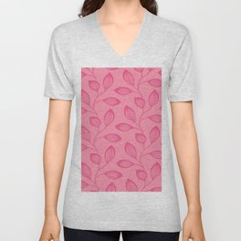 Climbing Leaves In Rose Pink On Blossom Pink Unisex V-Neck