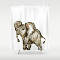 baby elephant Shower Curtains featuring Baby Elephant by James Peart