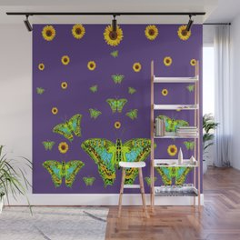 YELLOW SUNFLOWERS, GREEN MOTHS ON PURPLE Wall Mural