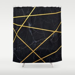 Black marble with gold lines Shower Curtain