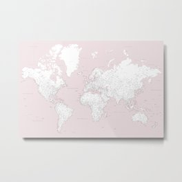 World map, highly detailed in dusty pink and white Metal Print