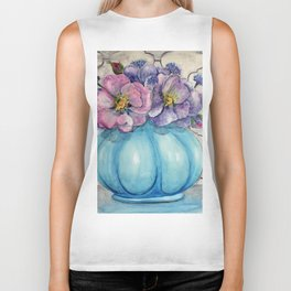 Bachelor Buttons and Wild Roses Biker Tank