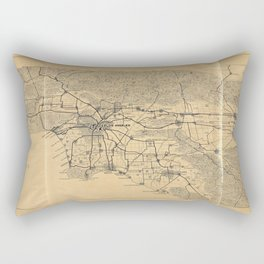 Map of Los Angeles and the San Gabriel Mountains (1915) Rectangular Pillow
