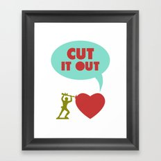 Cut it out - funny vector illustration with toy soldier, typography, and heart in green red and blue Framed Art Print