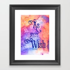 As you wish (inspired by The Princess Bride) Framed Art Print